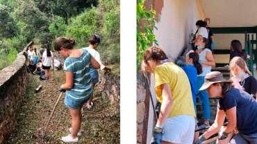 Jóvenes voluntarias ayudan al santuario